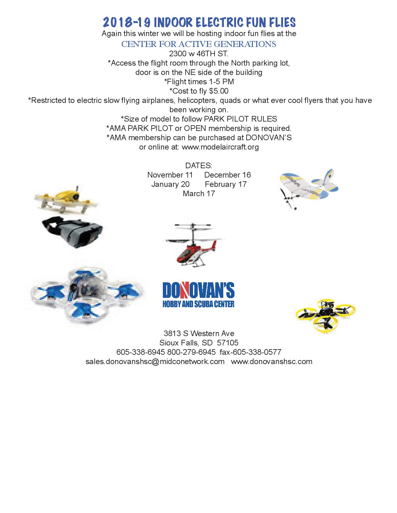 2018-19 Indoor Fun Fly Schedule