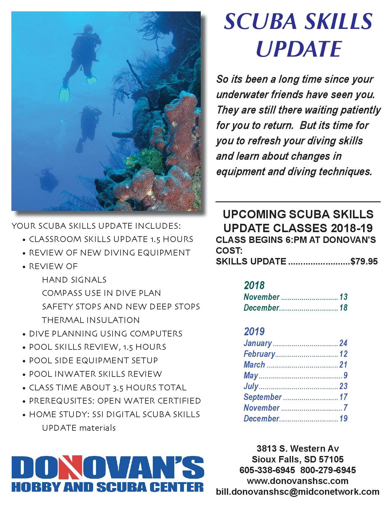 SCUBA SKILLS UPDATE poster 2019