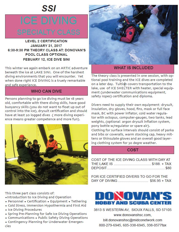 Donovans Hobby And Scuba Center Ice Diving Specialty